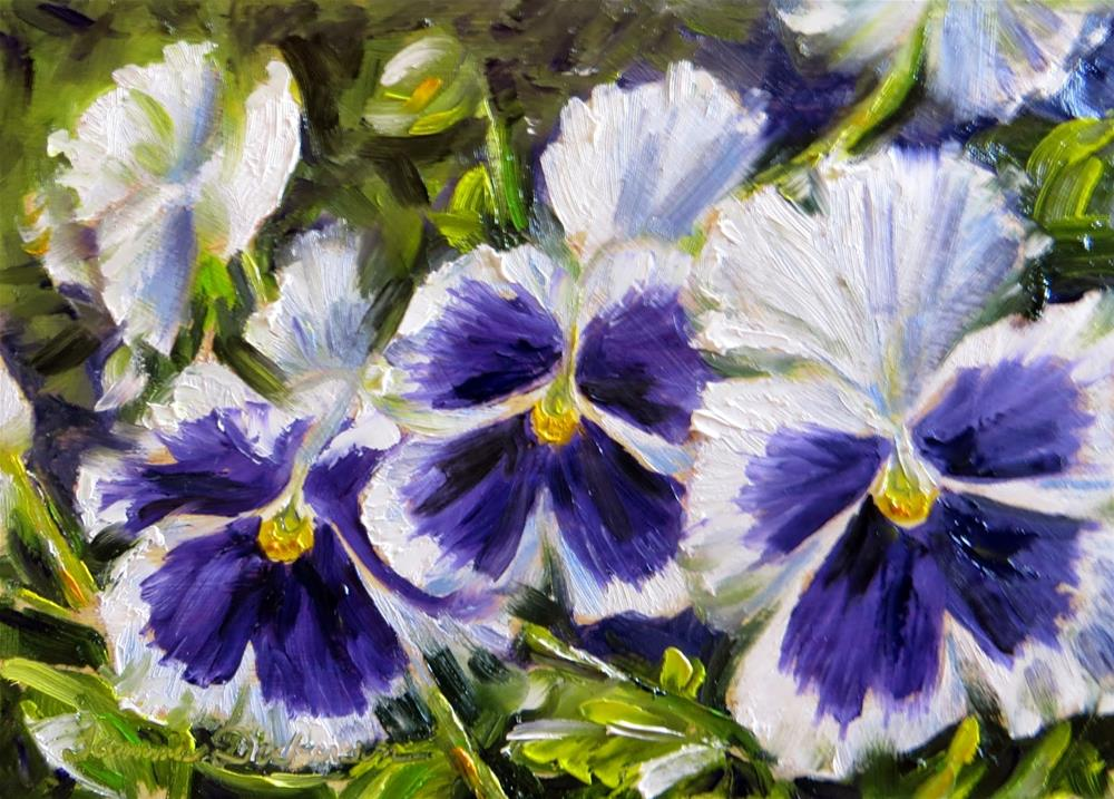 """Purple Face Pansies"" original fine art by Tammie Dickerson"