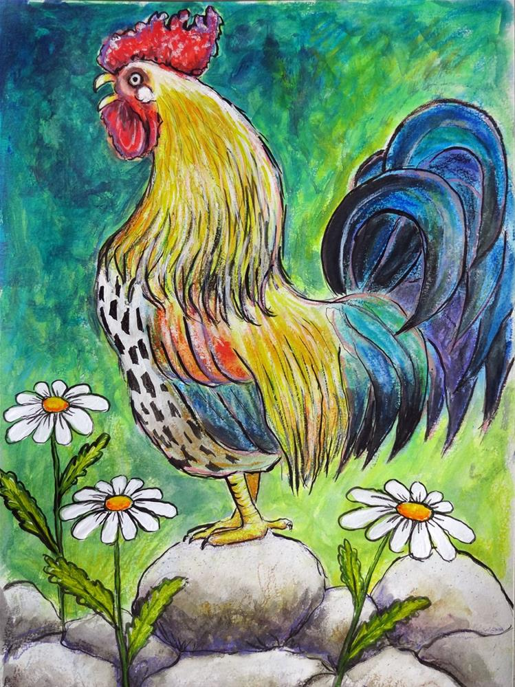 """Cock-a-doodle-doo!"" original fine art by Ande Hall"
