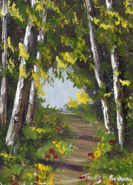 """Summer Forest ACEO"" original fine art by Janet Graham"