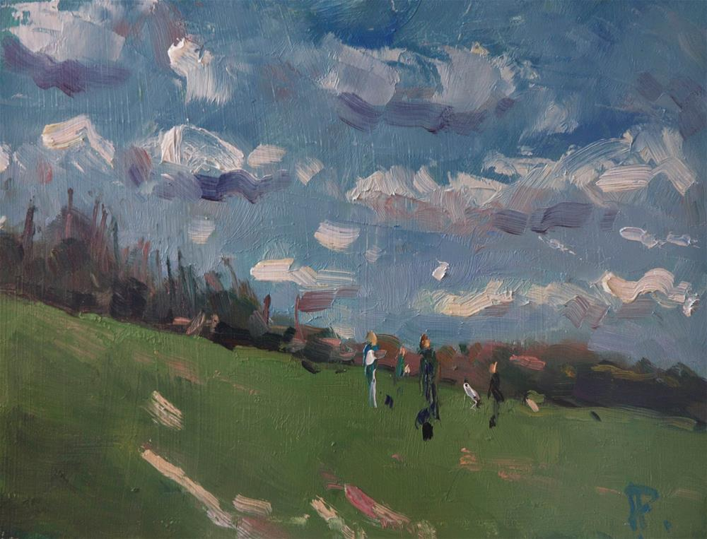 """""""Dog Walkers on a Windy Day"""" original fine art by Andre Pallat"""