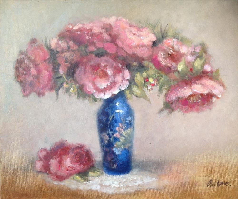 """Peonies"" original fine art by Christine Bayle"