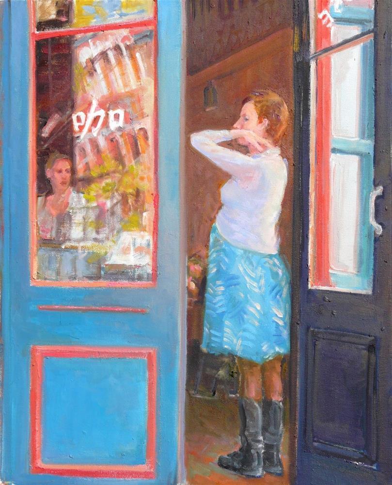 """Threshold of Motherhood,figure,oil on canvas,20x16,priceNFS"" original fine art by Joy Olney"