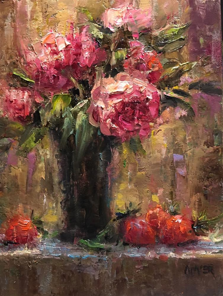 """Peonies & Strawberries"" original fine art by Julie Ford Oliver"