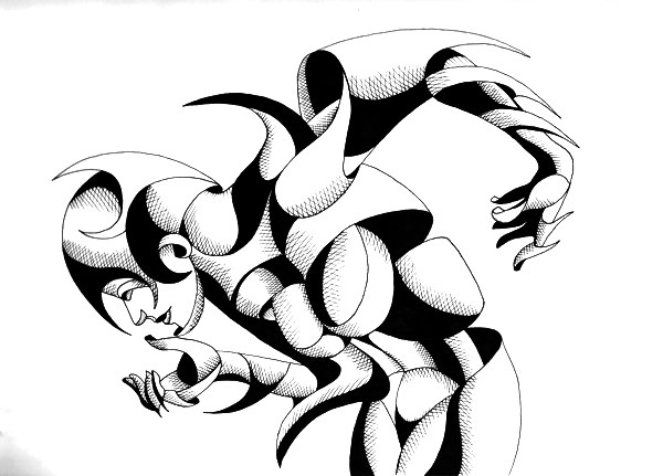 """""""Mark Webster - Nixie 12-01 - Abstract Geometric Figurative Ink Drawing"""" original fine art by Mark Webster"""