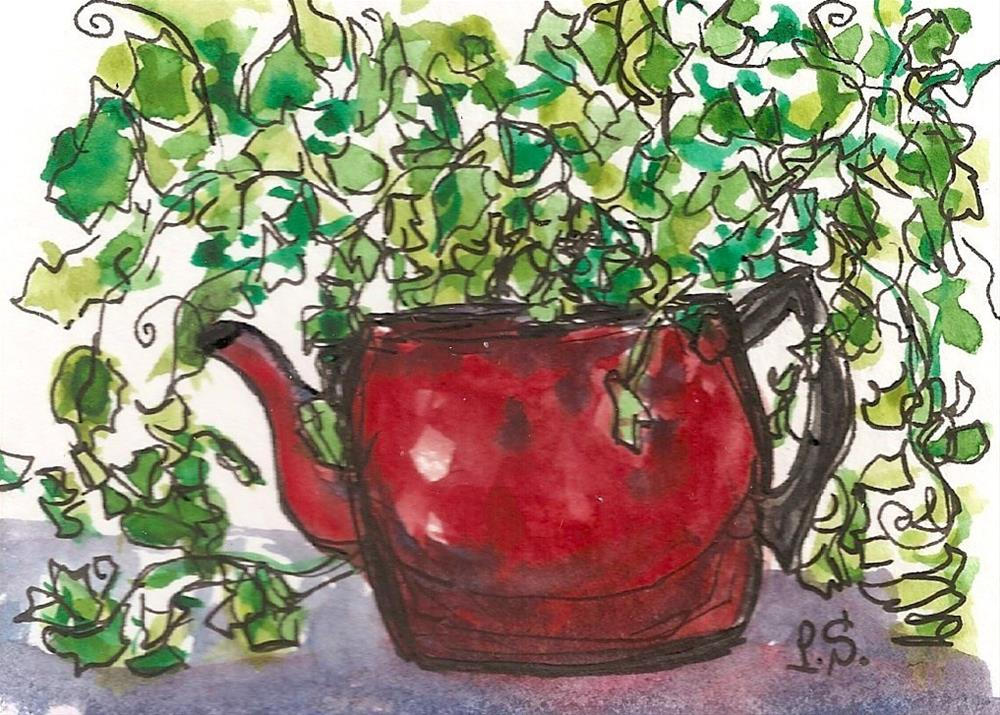 """""""ACEO Red Teapot with Ivy Planter Floral Painting Illustration by Penny StewArt"""" original fine art by Penny Lee StewArt"""