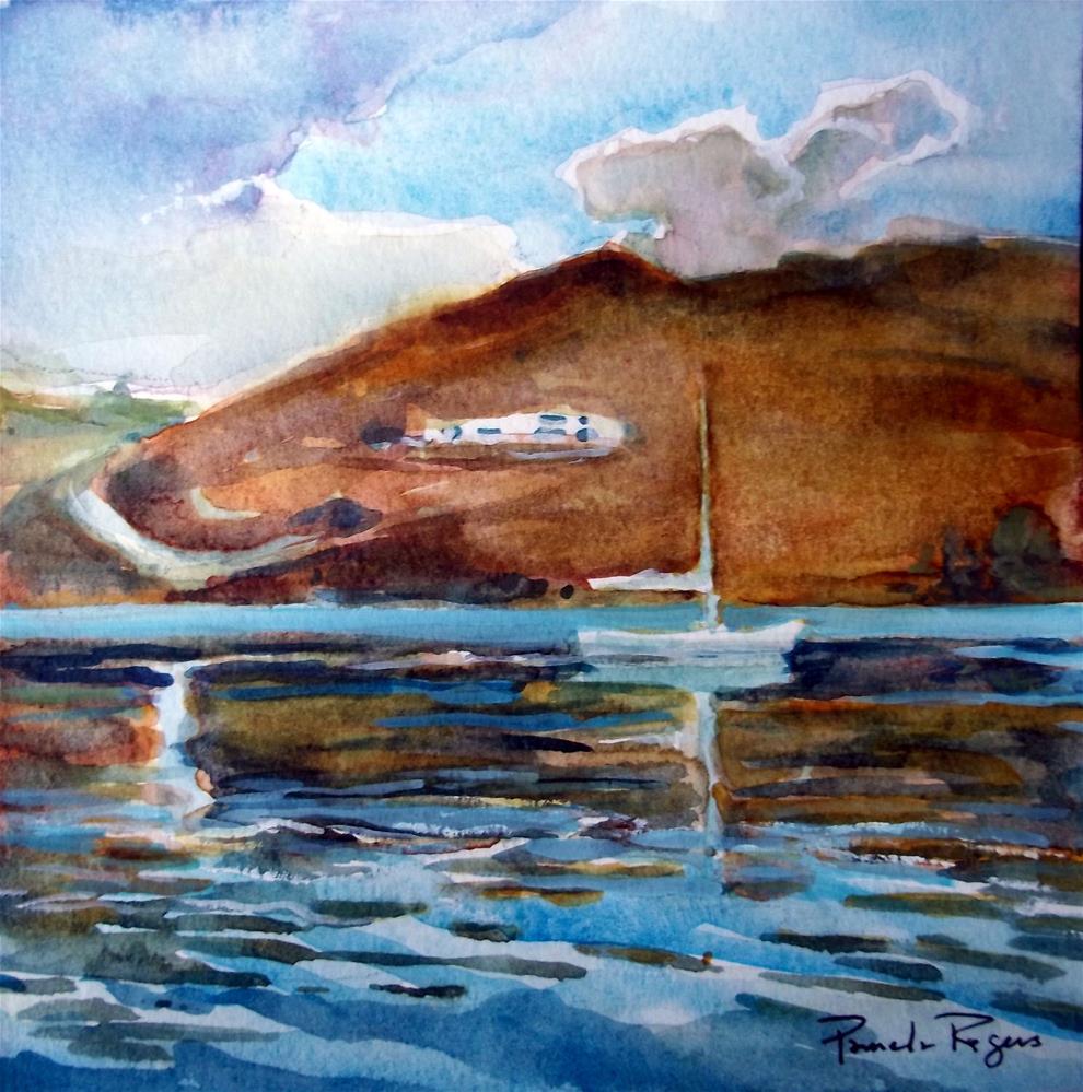 """Calm Serifos Harbor"" original fine art by Pamela Jane Rogers"