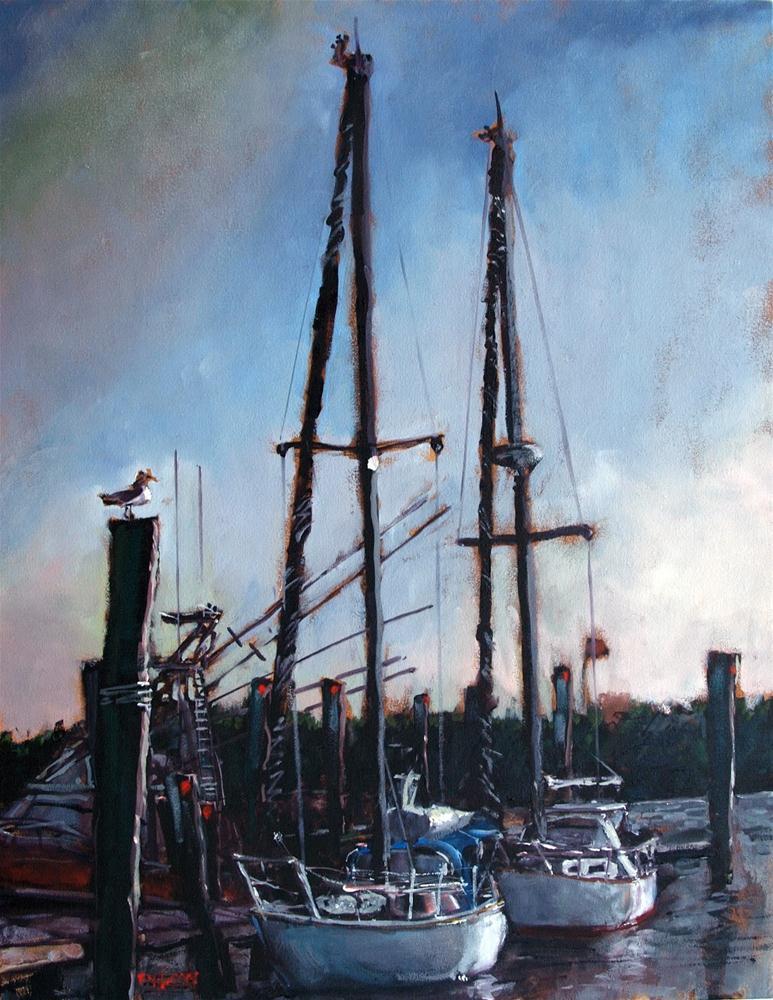"""Sailboats on Silver Lake"" original fine art by Rick Nilson"