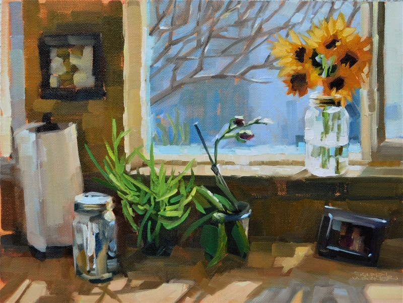 """Kitchen Sunflowers"" original fine art by Karen Werner"