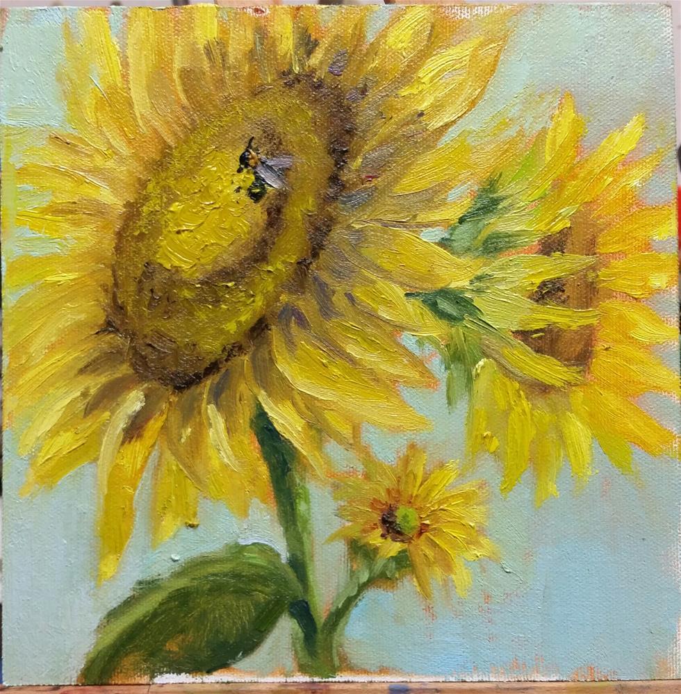 """Sunflowers 2-en plein air"" original fine art by Veronica Brown"