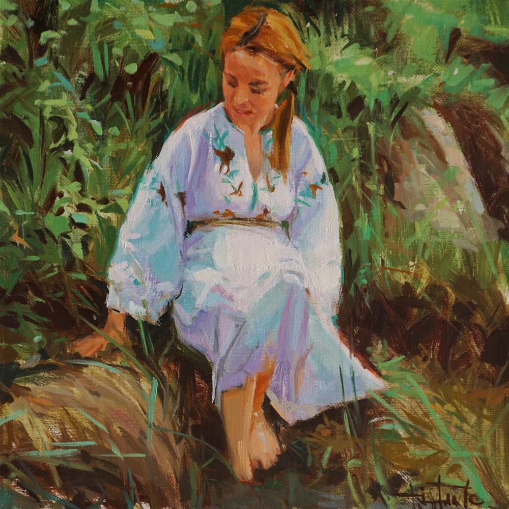 """Sitting in the river bank"" original fine art by Víctor Tristante"