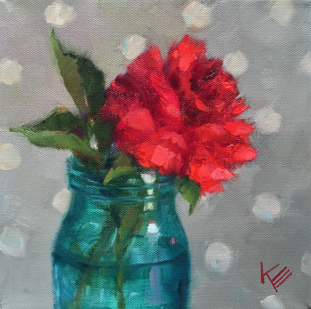 """Rose in Vintage Ball Jar"" original fine art by Krista Eaton"