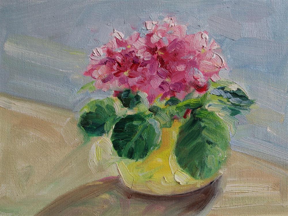 """Pink African Violets"" original fine art by H.F. Wallen"
