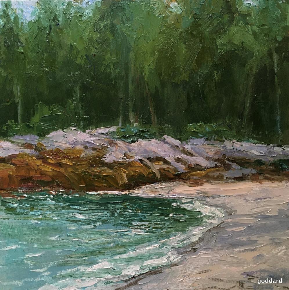 """Birch Stand Beach"" original fine art by Shari Goddard Shambaugh"