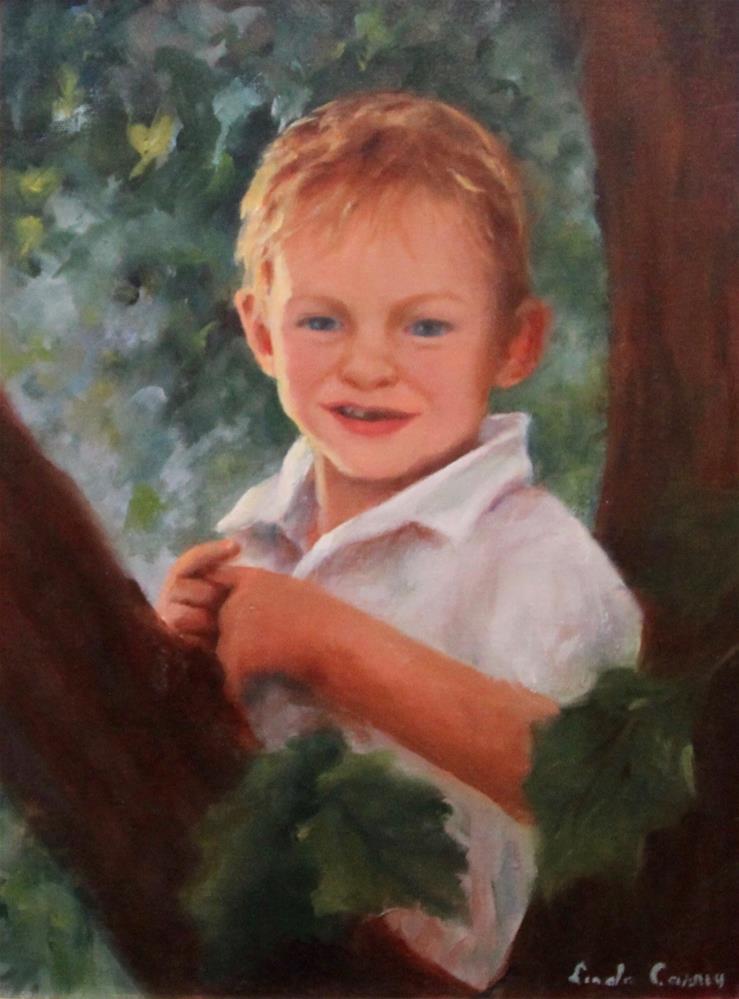 """I'm up here!"" original fine art by Linda Carney"