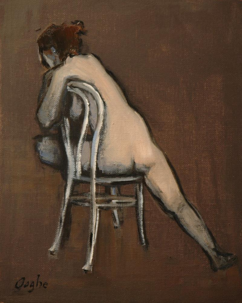 """""""Woman on White Chair"""" original fine art by Angela Ooghe"""