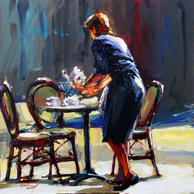 """""""Kellnerin"""" original fine art by Jurij Frey"""