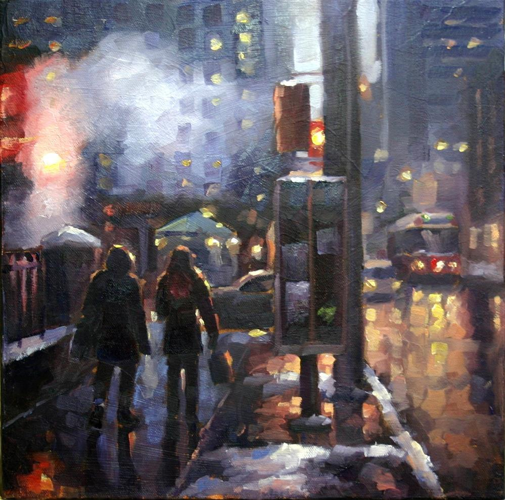 """""""Crisp Evening Shopping, Simcoe and King Streets"""" original fine art by Catherine Jeffrey"""