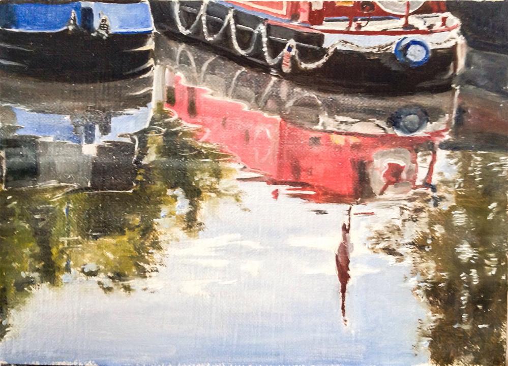 """Barge Reflections"" original fine art by James Coates"