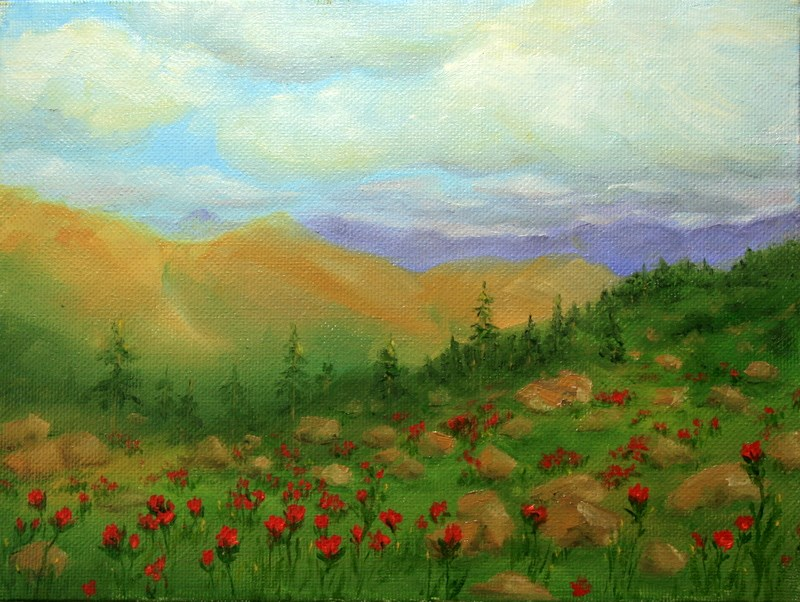 """Kalispell View with Indian Paintbrush"" original fine art by Jean Nelson"