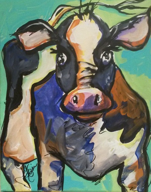"""""""30 Paintings in 30 Days-Day 28-Abstract Cow"""" original fine art by Terri Einer"""
