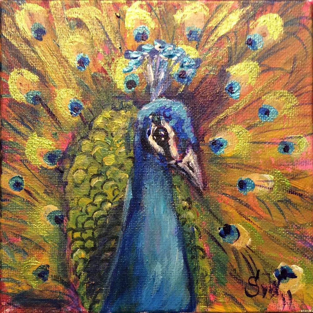 """Peacock painting"" original fine art by Sonia von Walter"