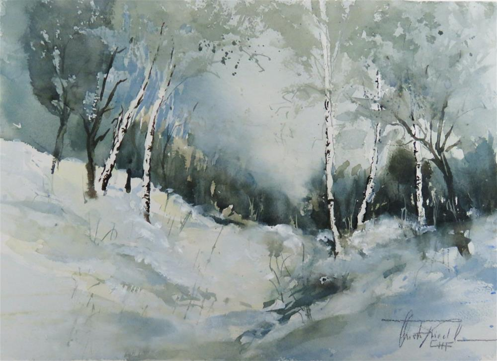 """Birch trees in the Wintertime"" original fine art by Christa Friedl"