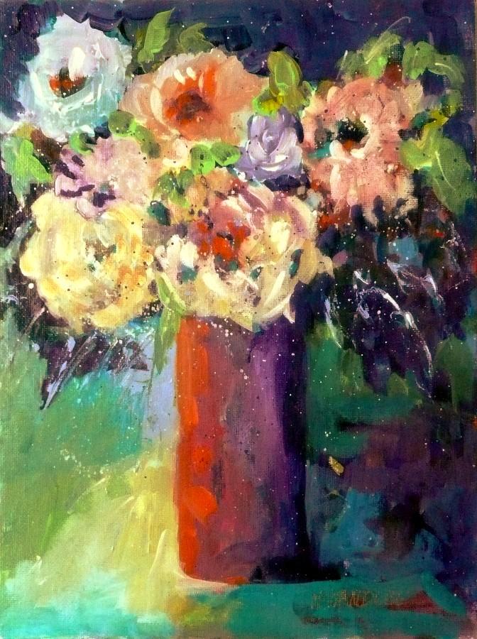 """Birthday Roses 11040"" original fine art by Nancy Standlee"