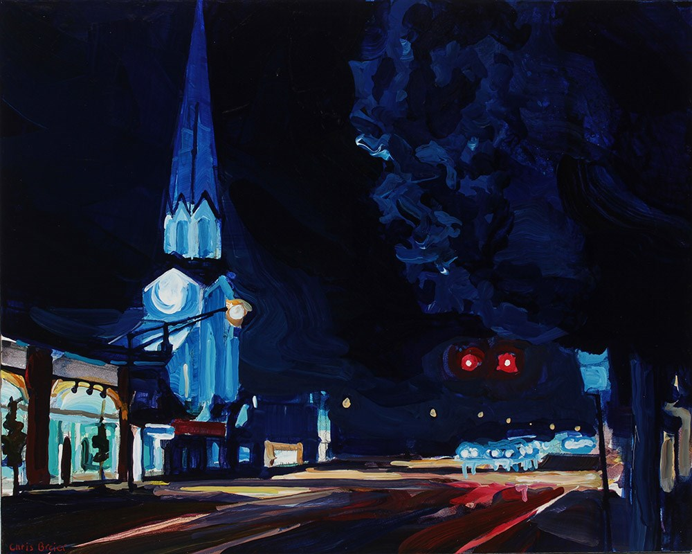 """Main Street at Night"" original fine art by Chris Breier"