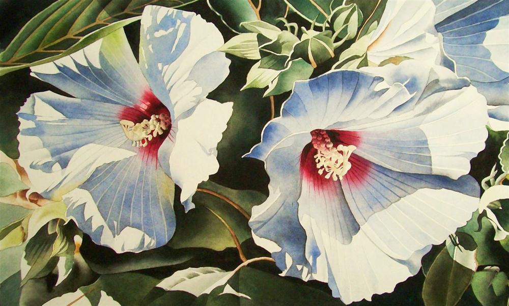 """White Hybiscus Blossoms"" original fine art by Jacqueline Gnott, TWSA, WHS"