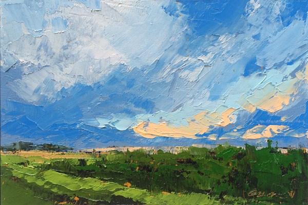 """Summer Cornfield, Storm"" original fine art by Mary Gilkerson"