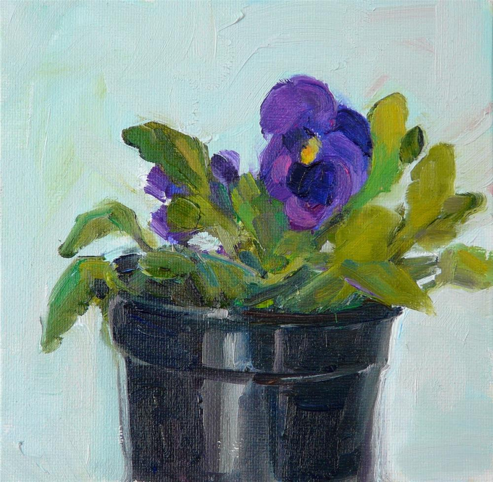 """Happy Purple Pansy,stilllife,oil on canvas,6x6,price$150"" original fine art by Joy Olney"
