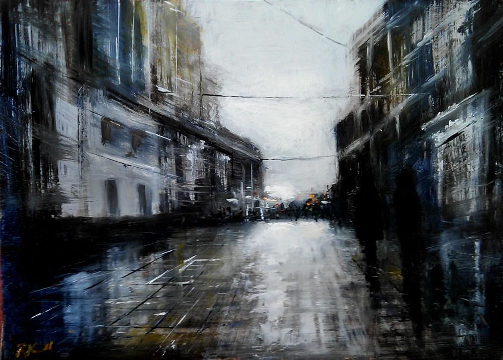 """Rainy Day in the City"" original fine art by Bob Kimball"