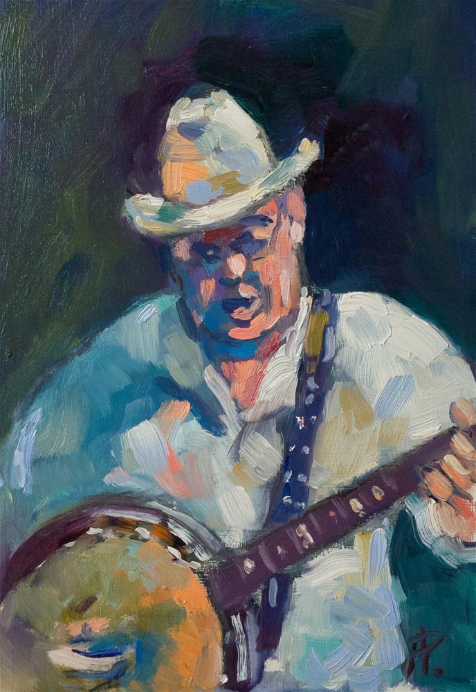 """Banjo Player"" original fine art by Andre Pallat"