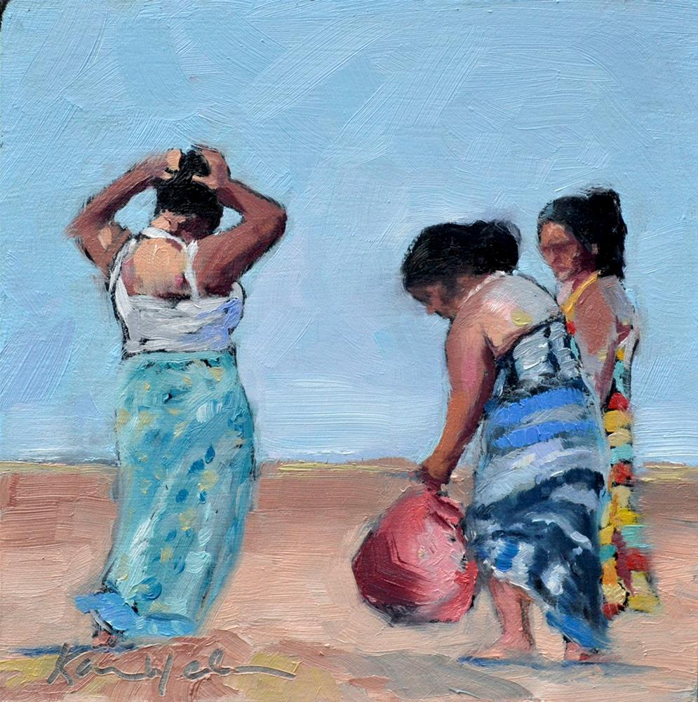 """""""Leaving the beach"""" original fine art by Karen Weber"""