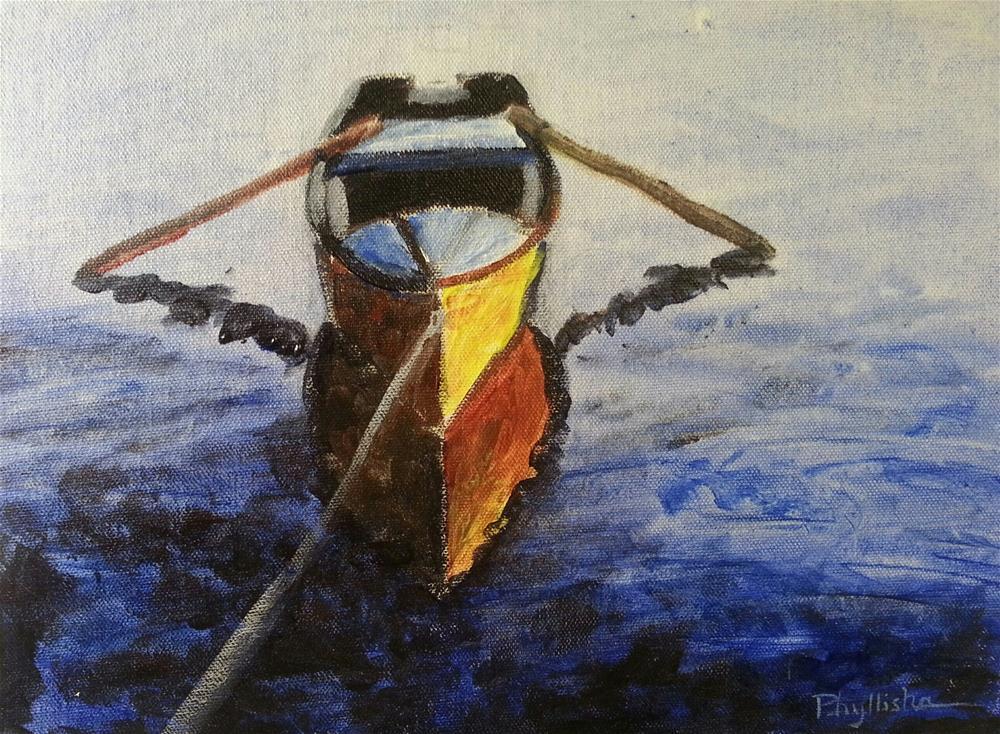 """Boat on the Water"" original fine art by Phyllisha Hamrick"