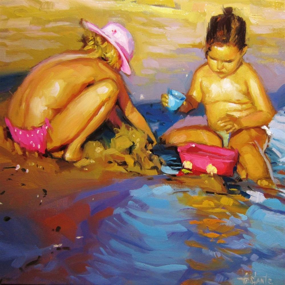 """""""Making castles of sand"""" original fine art by Víctor Tristante"""