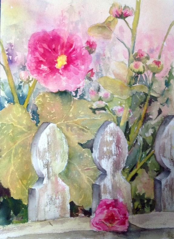 """Hollyhock and Fence"" original fine art by Sue Dion"