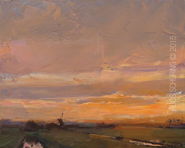 """LSP01-2015 Schuring Landscape First Sunrise of Spring"" original fine art by Roos Schuring"