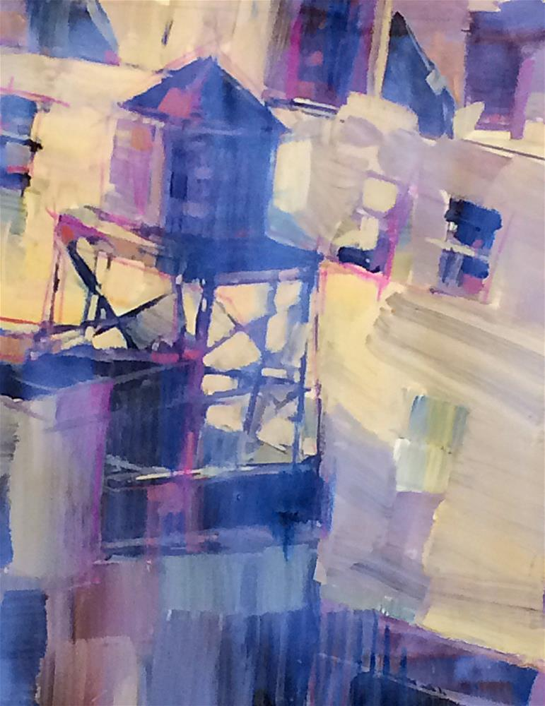 """New York Harlem Watertowers"" original fine art by Patti Mollica"