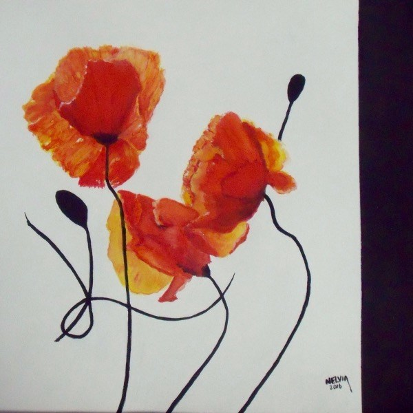 """Poppy Trio"" original fine art by Nelvia McGrath"