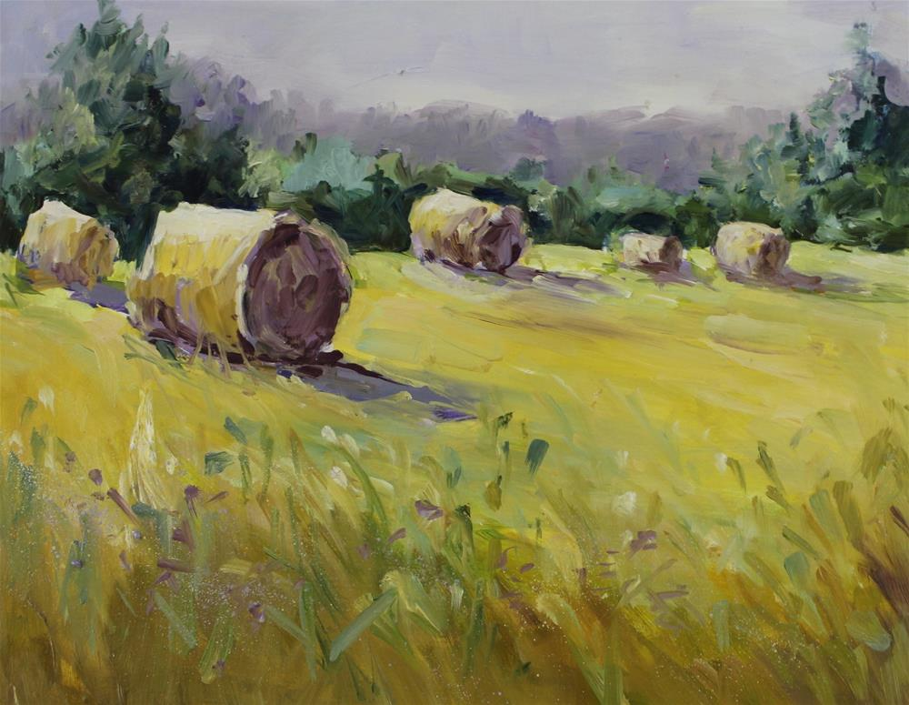 """Original hay bale rural country farm landscape oil painting"" original fine art by Alice Harpel"