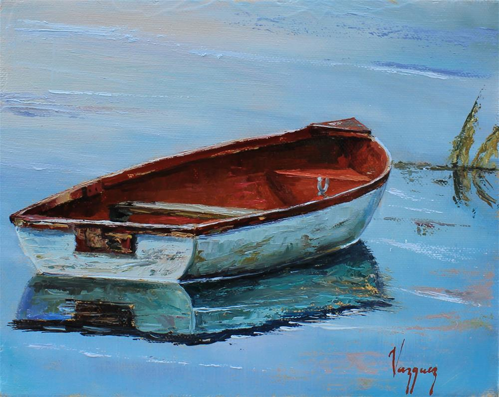 """Lonely boat"" original fine art by Marco Vazquez"