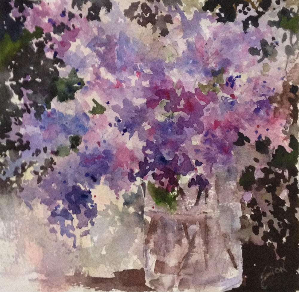 """Lilacs on the Dark Side"" original fine art by Sue Dion"