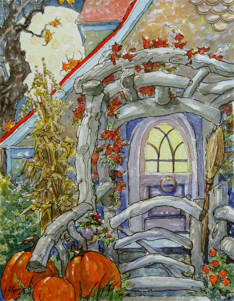 """A Moon-full Autumn Welcome Storybook Cottage Series"" original fine art by Alida Akers"