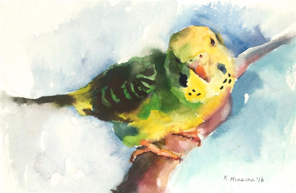 """budgie22"" original fine art by Katya Minkina"