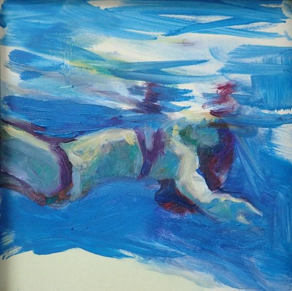 """""""Fragmented at the Waterline: Between 2 Worlds"""" original fine art by Sharon Savitz"""