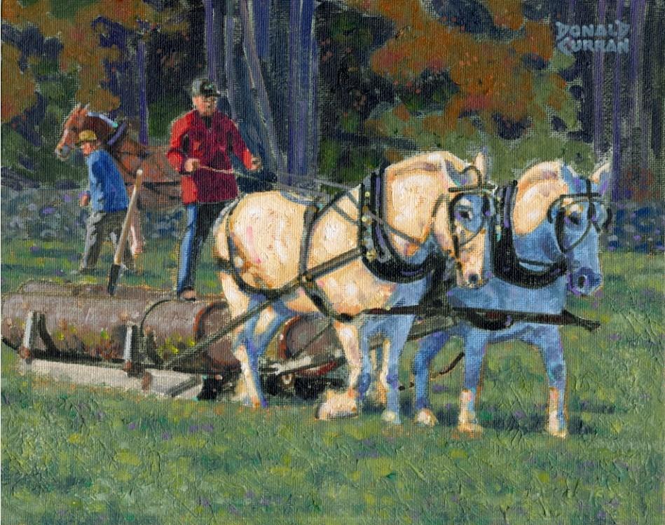 """Hauling Timber"" original fine art by Donald Curran"