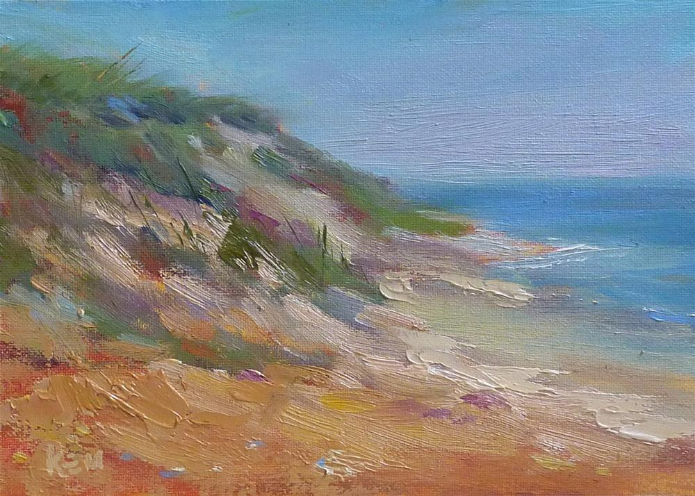 """Quick Demo of a Daily Oil Painting...Beach Dunes"" original fine art by Karen Margulis"