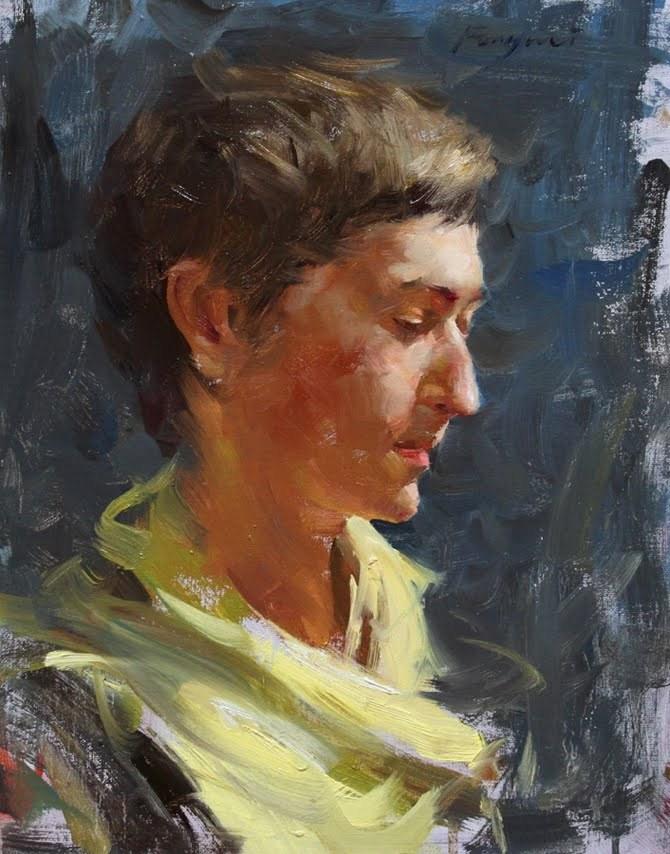 """""""Yellow Scarf"""" original fine art by Fongwei Liu"""