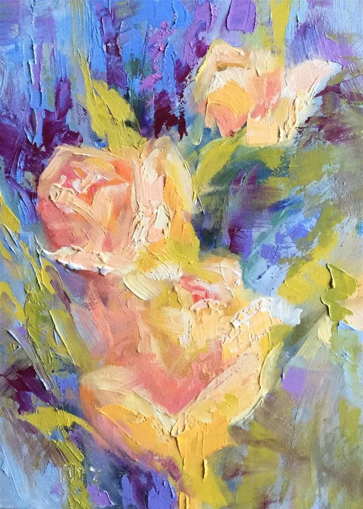 """Three Peach Roses"" original fine art by Charlotte Fitzgerald"